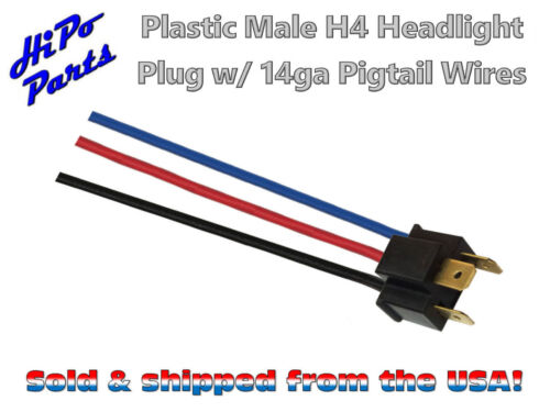 """Plastic Male H4 Headlight Plug w// 14ga Pigtail Wires fits 7"""" Round Lamps"""