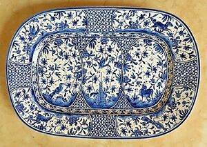 WILLIAMS-SONOMA-PLATTER-LARGE-PROVENCE-BLUE-EARTHENWARE-ARTIST-SIGNED-21-1-4-034
