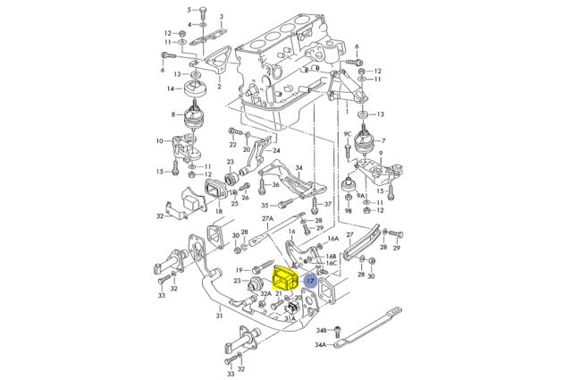 AUDI A4 A4 QUATTRO 2.8 V6 Engine Motor TRANSMISSION TRANNY SNUB Mount Mounts 5