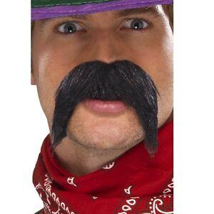 mexican moustache gringo big bushy fancy dress tash black adults men