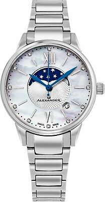 Alexander White Mother of Pearl Diamond Face Swiss Made Women's Quartz Watch