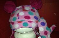 Abg Polka Dot Girls Hat With Mittens Pink Bebe