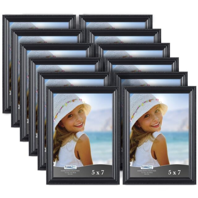 Icona Bay 5 X 7 Inch Picture Frames 12 Pack Bulk Set Black Wall