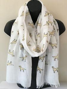 UK femme labrador chien imprime blanc gris chale echarpe 100% coton avec frange