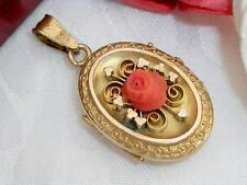 SUPERB SIGNED C1870 ANTIQUE VICTORIAN 10K GOLD GF CORAL ROSE CAMEO PHOTO LOCKET