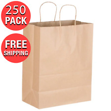 250 Pack Natural Brown Kraft Paper Large Shopping Bag With Handle 13 X 7 X 17