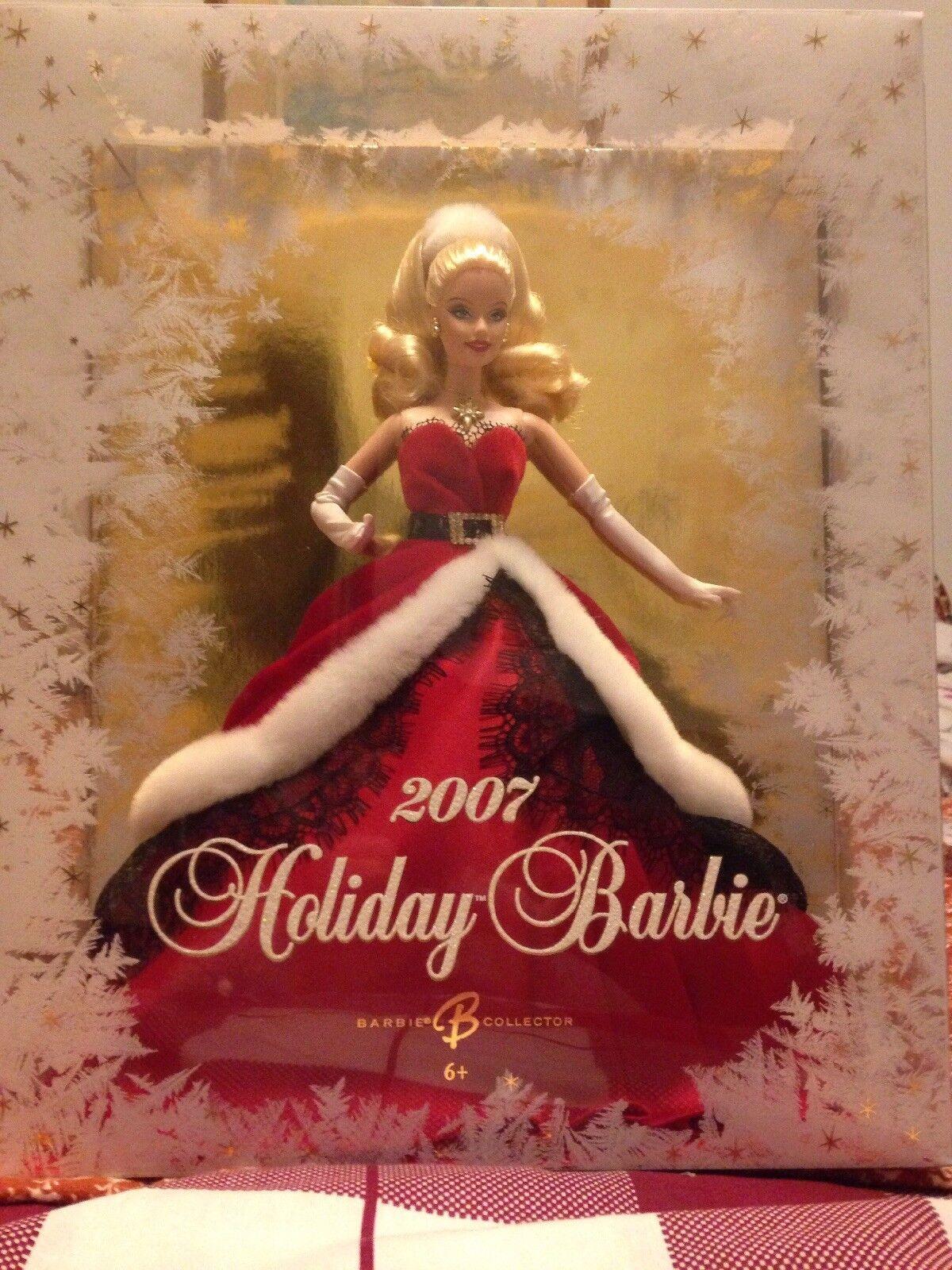 2007 Vacaciones Barbie Muñeca Rojo Navidad Santa vestido de edición de coleccionista