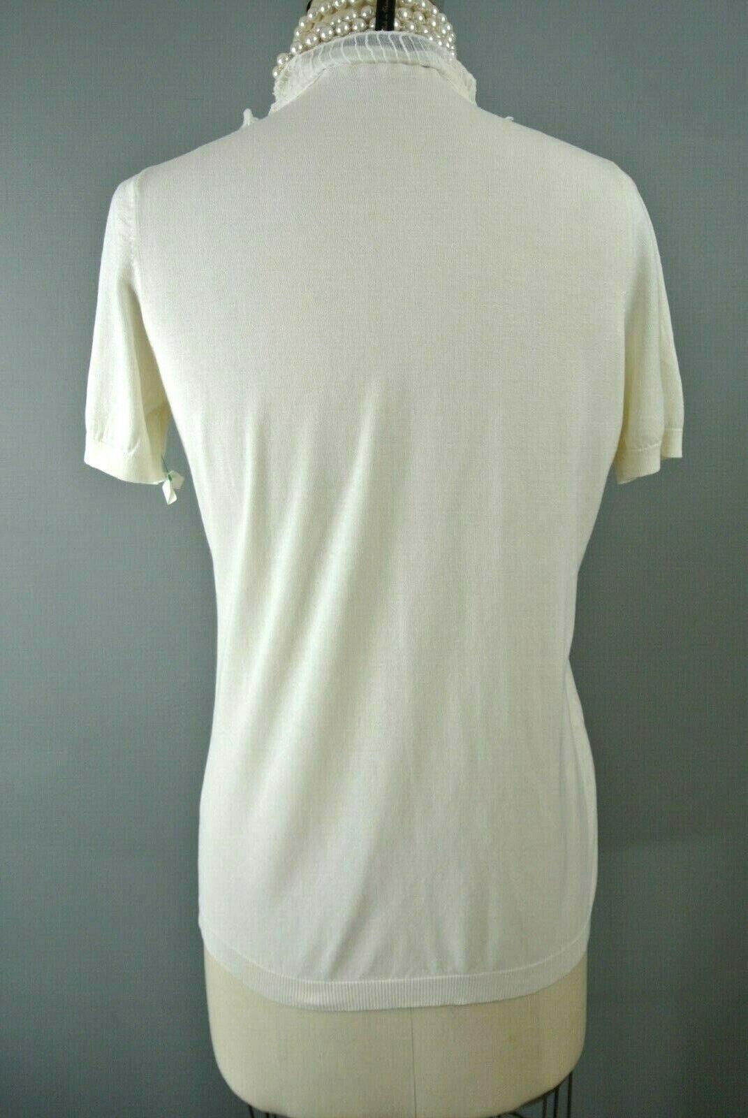 BCBG MAXAZRIA Silk/Cotton Blouse M Ivory Ruffle S… - image 5