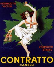 White Wine Grapes Vermouth Bonomelli Milano Vintage Poster Repro FREE S//H