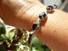 Magnifique bracelet souple avec grenats en argent 925  poinçon