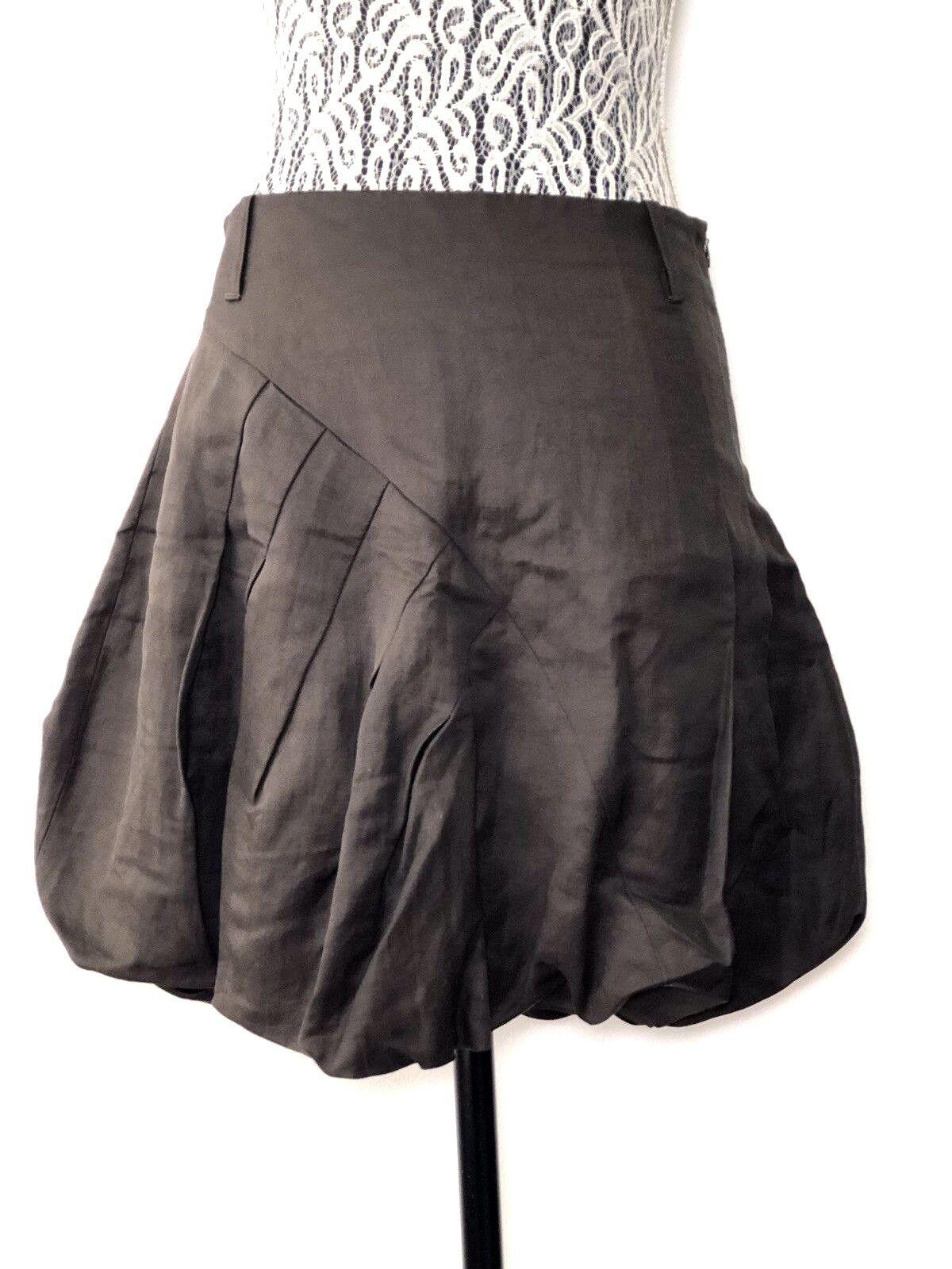 DIVINA Brown Linen Knee Length Fit Highwasted  Bubble Skirt ITALIAN Sz S   4