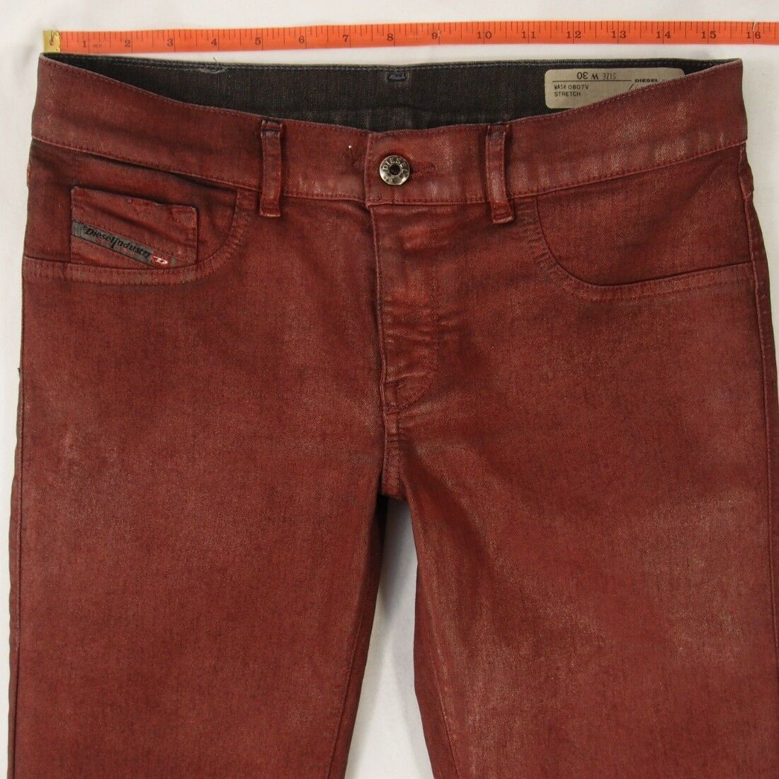 Womens Diesel LIVIER-SP Leather Look Skinny Red Jeans W31 L32 Size 12