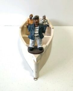 LOT OF 1 VINTAGE CAPTAIN & 2 FISHERMEN SAILORS ON  BOAT NAUTICAL DECOR FIGURINES