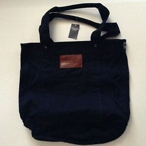 Details About Nwt Abercrombie Fitch Classic Navy Canvas Tote Book School Bag Brand New