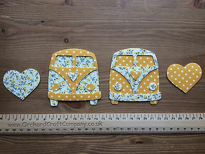 Iron on fabric VW CAMPERVAN Fronts X 2 in dotty/floral for Applique, Sewing