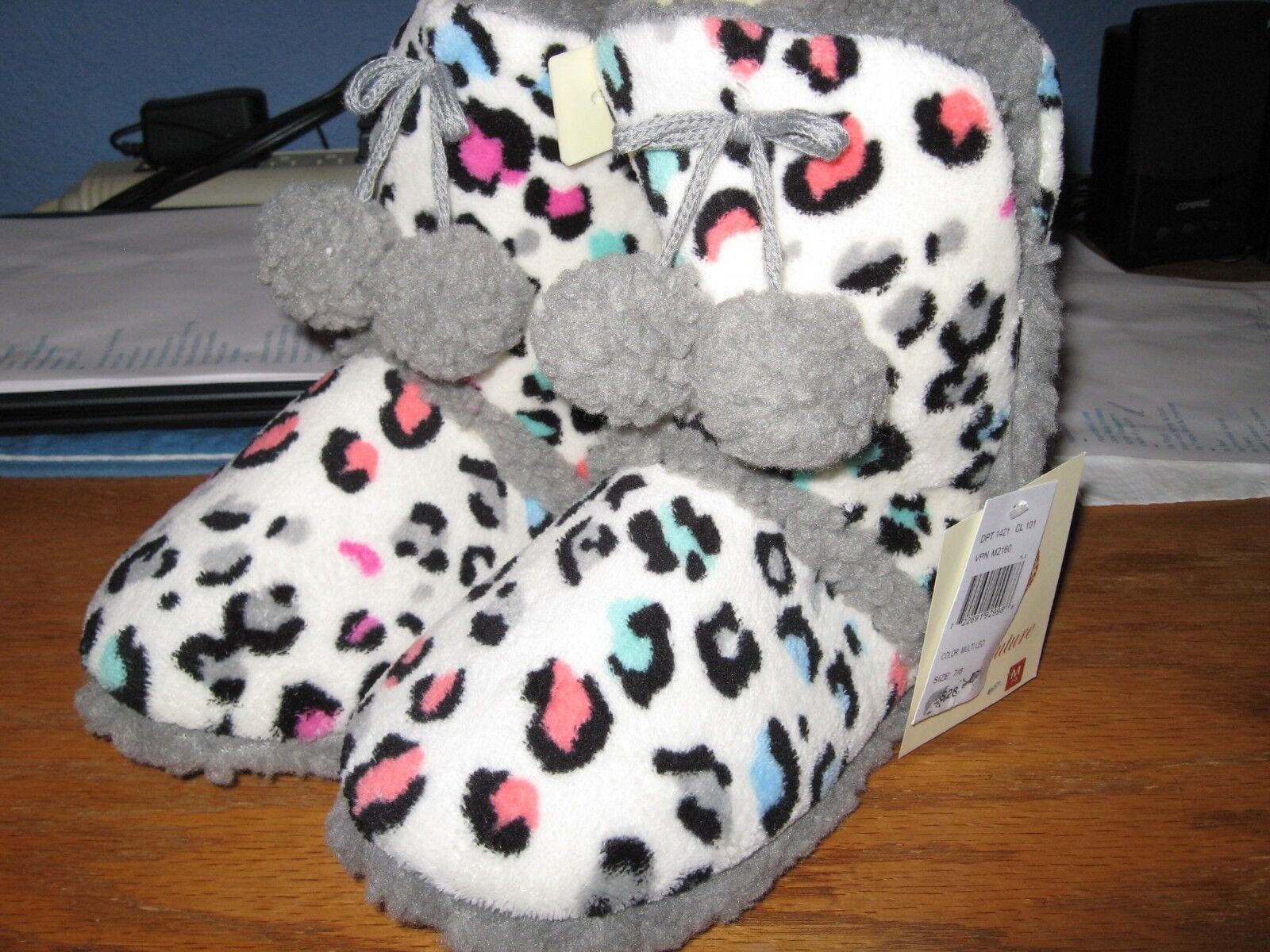 WOMENS SLIPPERS SIZE MEDIUM 7 8  BOOTIES CHEETAH SPOTTED NWT