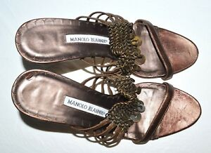 MANOLO-BLAHNIK-SIZE-7-7-5-M-37-5-BROWN-LEATHER-CHAIN-SANDALS-ITALY-DESIGNER