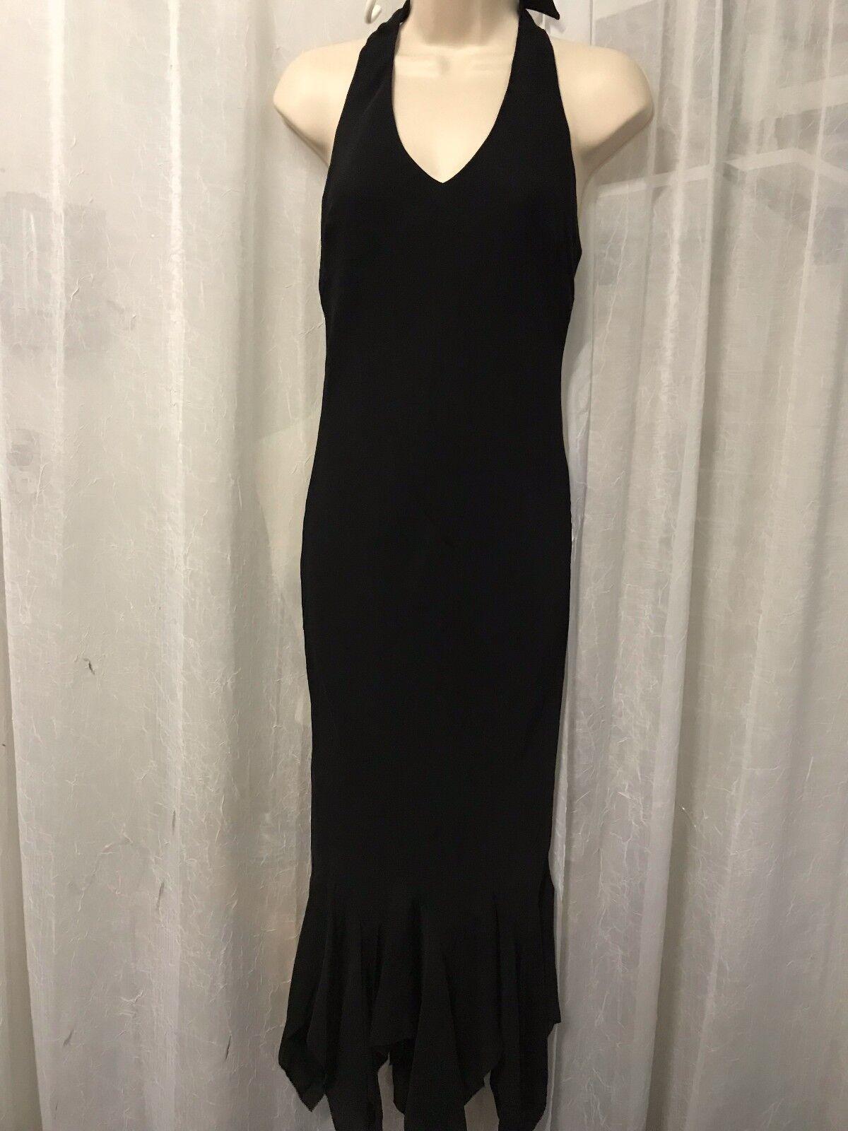 Ralph Lauren Woherren Dress schwarz Kauai 100% Silk Halter Long Größe 6 NWT