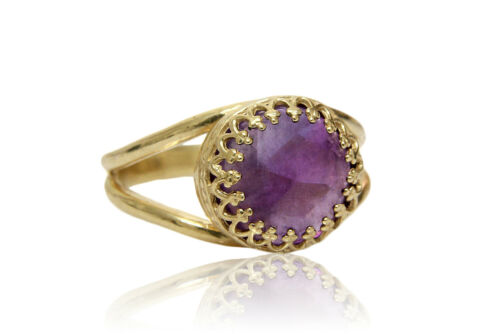 Details about  /Amethyst in 14K Gold Over Silver February Birthstone Ring by Anemone Jewelry