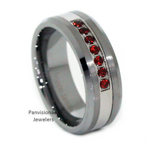 Image Is Loading Thin Red Line Tungsten Carbide Mens 7 Stone