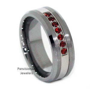Thin Red Line Tungsten Carbide Mens 7 Stone Ruby Garnet Cz