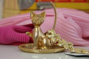 Anello-Gatto-Gatto-Animale-ANELLO-METALLO-DORATO-ANELLO-SUPPORTO-Miao-60er-True-Vintage-60s