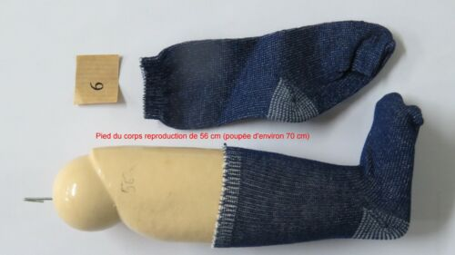 """Chaussettes Bleu fonçé Taille 6  Ref  /"""" 6BU /""""   poupées de 60 à 80 cm"""