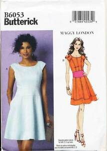 BUTTERICK-SEWING-PATTERN-6053-MISSES-8-16-FLARED-FITTED-DRESS-W-PRINCESS-SEAMS