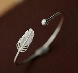 925-Sterling-Silber-Armreif-Armband-Blatt-Boho-Feder-Silber-Filigran