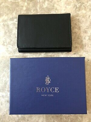 royce new york men s black leather tri fold id card wallet ebay ebay