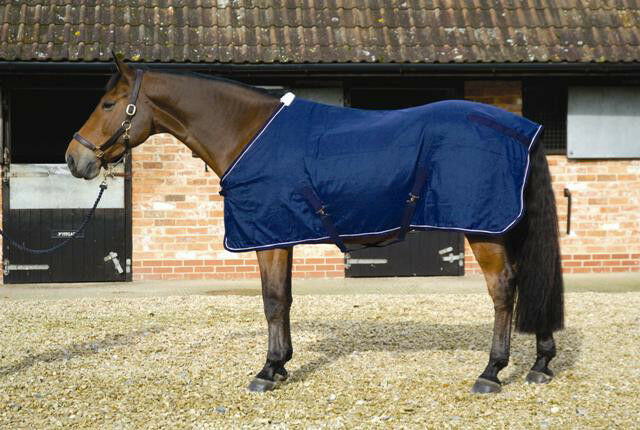 Mark Todd Cotton Sheet Stable Summer Sheet Horse Rug Navy blanc 5'6'' - 7'0''