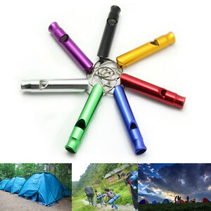 5X-Alloy-Aluminum-Emergency-Survival-Whistle-Camping-Outdoor-Hiking-Keychain-UK