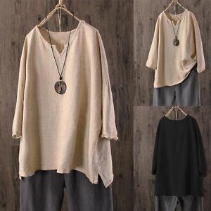 Femmes-Plus-Size-manches-longues-coton-chemise-en-lin-col-v-Oversize-Blouse-haut