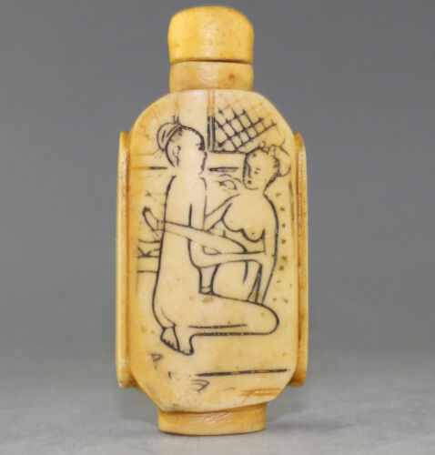 Rare Chinese Hand-carved Character story resin snuff bottle h206