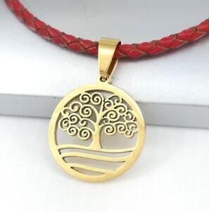Gold-Baum-Des-Lebens-Kette-Edelstahl-Anhaenger-Rot-Halskette-Leder-Geflochten