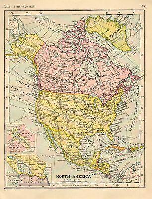 Landkarte Nord Amerika USA Kanada Kuba Mexico Honduras Antillen 1890 Original