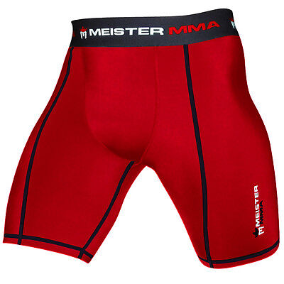 MEISTER RED COMPRESSION RUSH SHORTS w/ CUP POCKET - MMA Vale Tudo BJJ Rash Guard