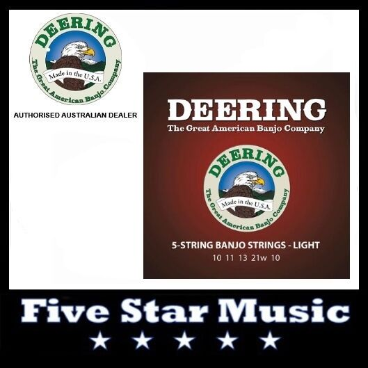 DEERING 5 String Banjo Set Light Gauge NEW 10-21 Strings Made in USA