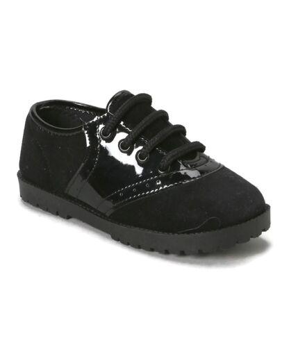 Velvet /& Patent Black Saddle shoes Girls or Boys Infant /& Toddler Sizes 1 to 10