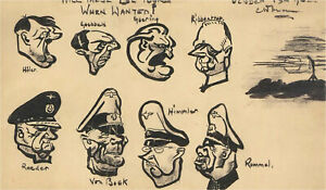 Charles W. Mann (b.1925) - 1942 India Ink, Caricatures Of The Third Reich