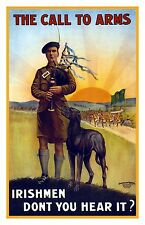 IRISHMEN Call To Arms Bagpipes Irish Vintage Military Fine Art Print / Poster