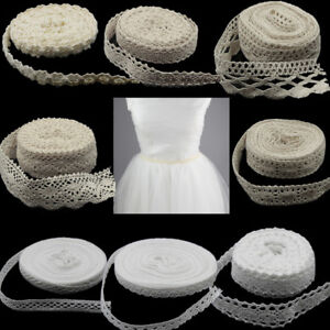 5m-10Yd-Vintage-Cotton-Crochet-Lace-Trim-Wedding-Bridal-Ribbon-Sewing-Craft-New