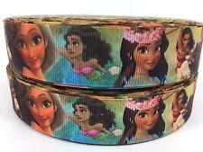"""BY The Yard 1"""" Disney Princess Moana Grosgrain Ribbon Hair Bows Lanyards Lisa"""