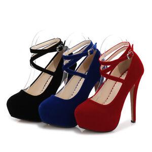 5b1883afa6 Womens Men's High Heels Platform Crossdresser Drag Queen Blue Ankle ...
