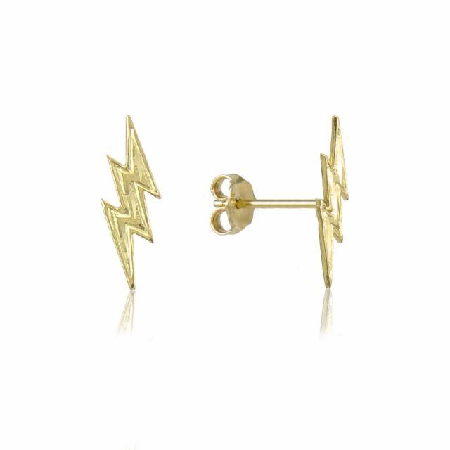 Solid 14k Yellow Gold Lightning Bolt Stud Earrings