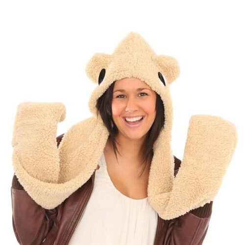 LADIES FLUFFY SNOOD With EARS EYES /& POCKETS Fleece Hat Girls Teen to Adult BNWT