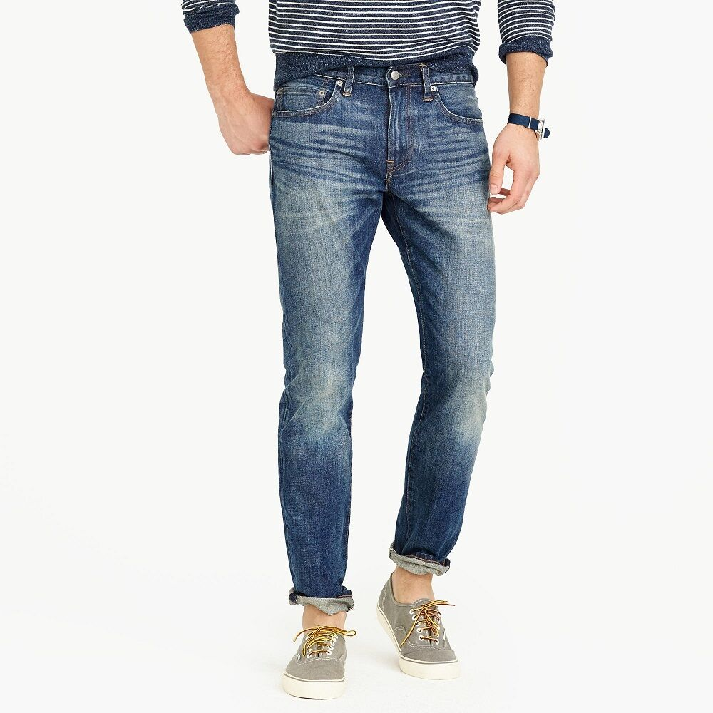 J. Crew 484 Japan Kaihara Denim Men's Slim Fit Jeans Leroy Wash  NEW 34x34