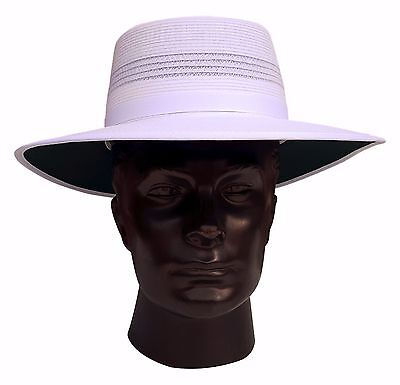 L REO Headwear Hat Mens Sports White Summer Cricket Hat Camelia Turn Up Brim S