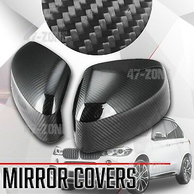 For 2014-17 BMW X5 F15 Black Real Carbon Fiber Side Mirror Cover Overlay Trim