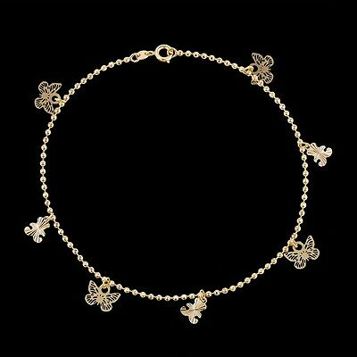 """10.5/"""" Gift 9K 9ct Yellow /""""Gold FILLED/"""" Ladies Beads ANKLE CHAIN ANKLET"""